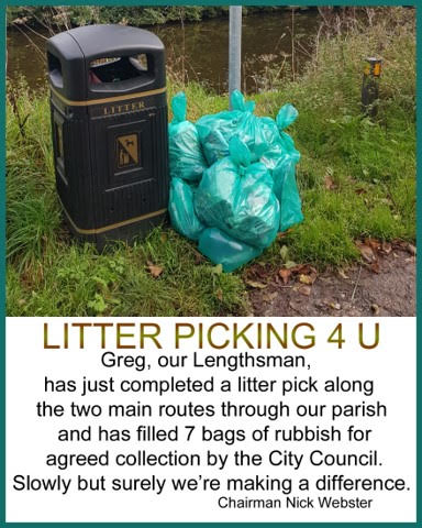 Image of bags of litter collected in the parish by the Lengthsman, for collection by the City Council